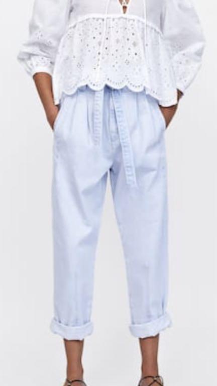Zara spodnie jeansy wiązane 38