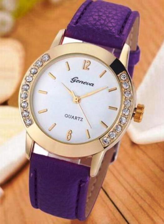 Geneva, zegarek z cyrkoniami, fioletowy pasek