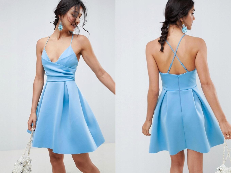Błękinta sukienka kopertowy dekolt pianka L/40