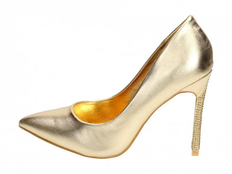 Sylwestrowe złote szpilki damskie VICES 5130 r36