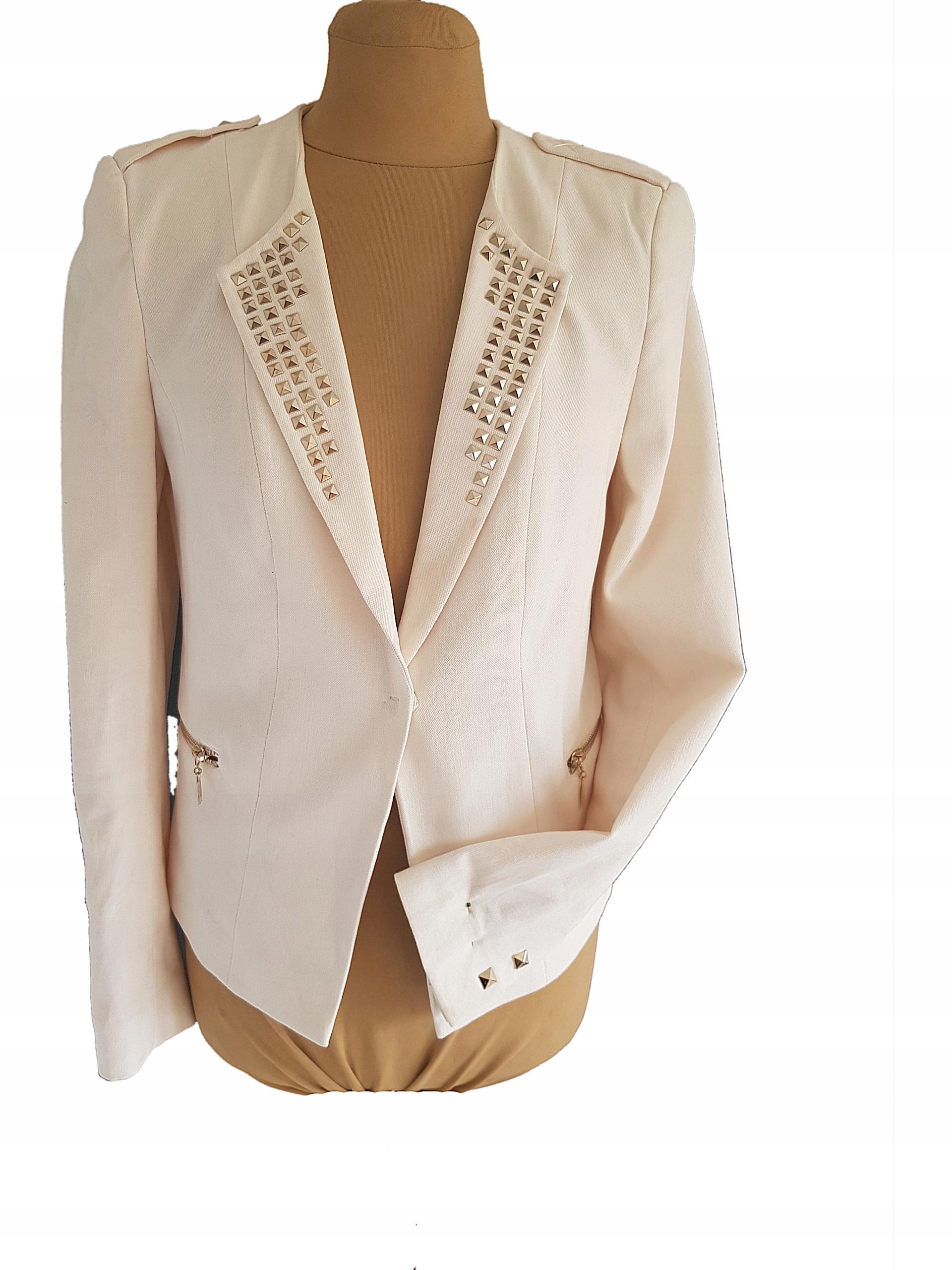 H&M-modny śmietankowy żakiet 40 j,nowy