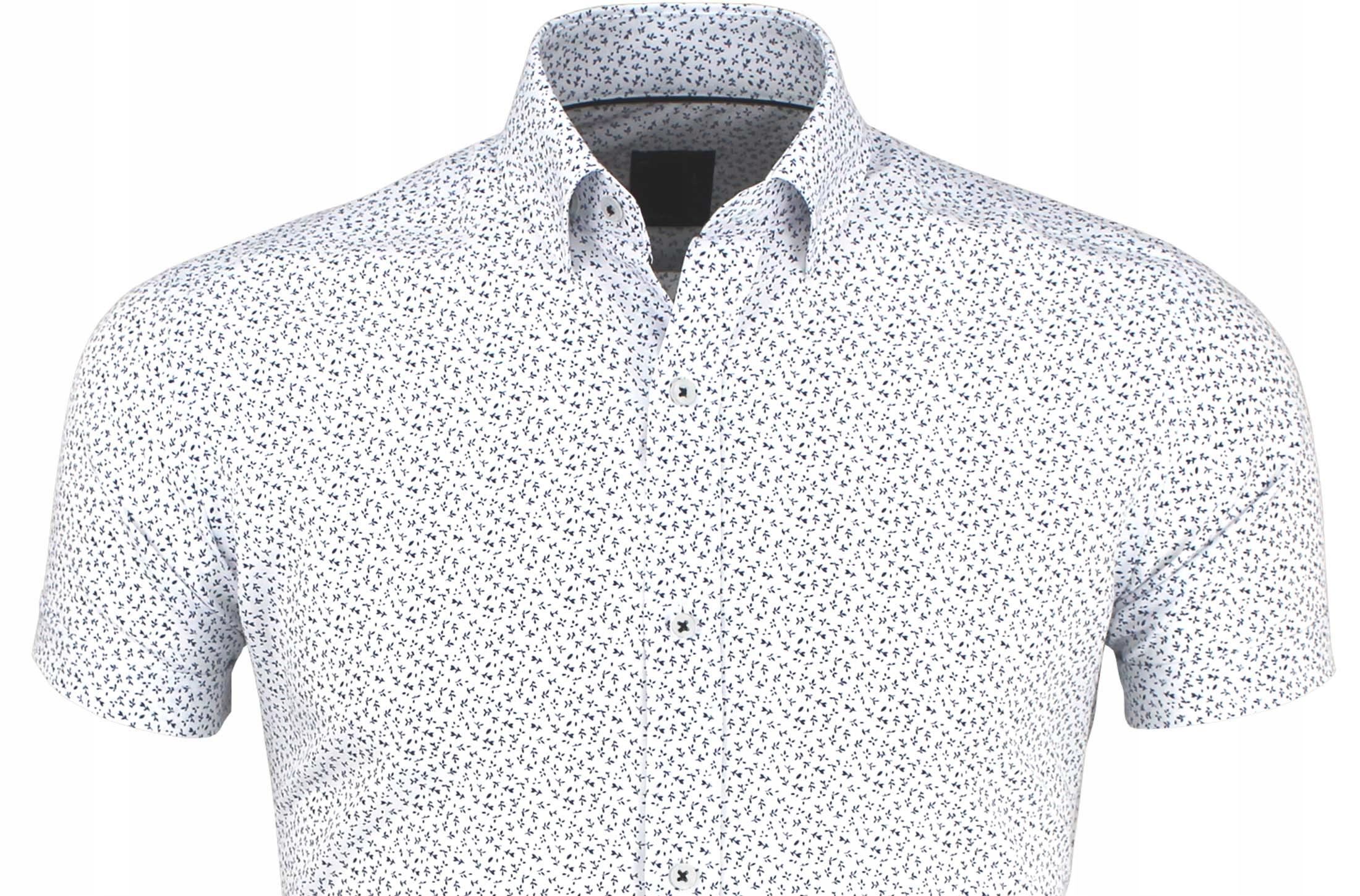 Biała Koszula Męska w Kwiatuszki Kr.Rękaw XXL 3046  e74bQ