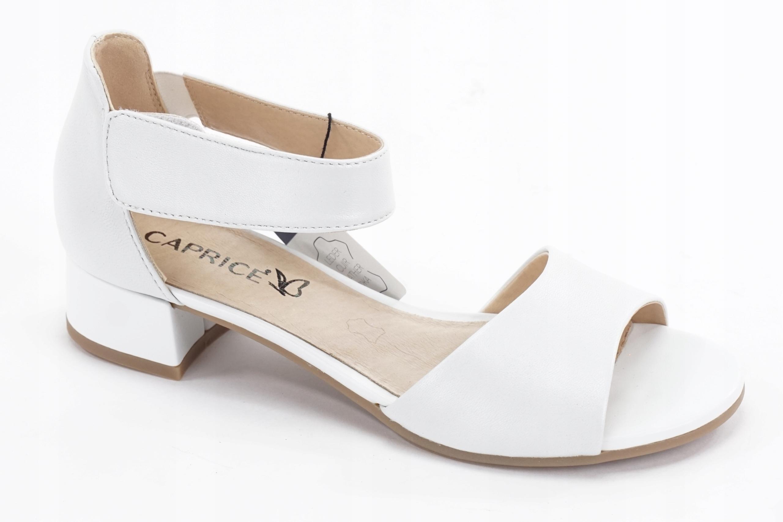 CAPRICE R. 36 skórzane sandały białe rzepy DJ152 9