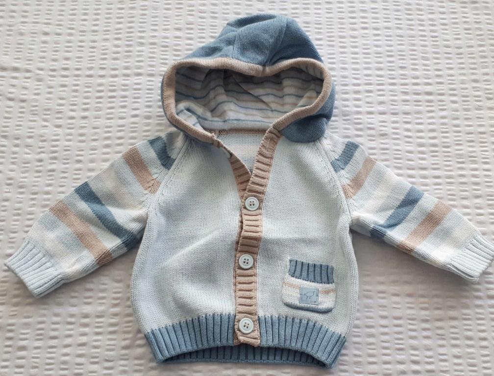 Sweter paski kaptur Marks&Spencer r. 62 0-3 mc