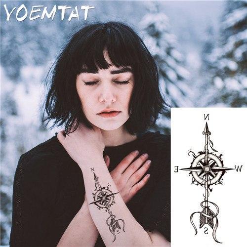 Tatuaż Duży Strzała Symbol Północ Kompas 7569154017