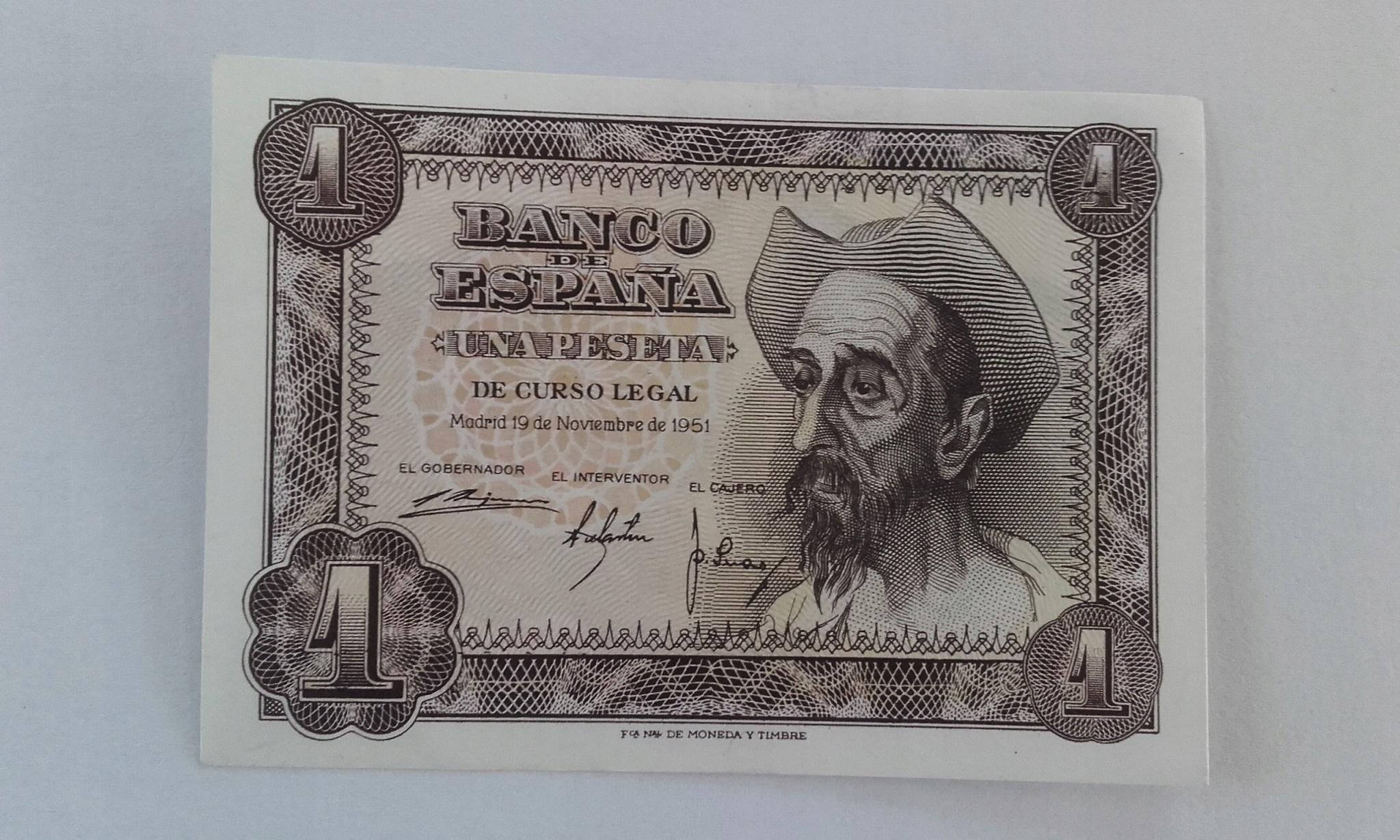 HISZPANIA 1 PESETA 1951 P139 (221)