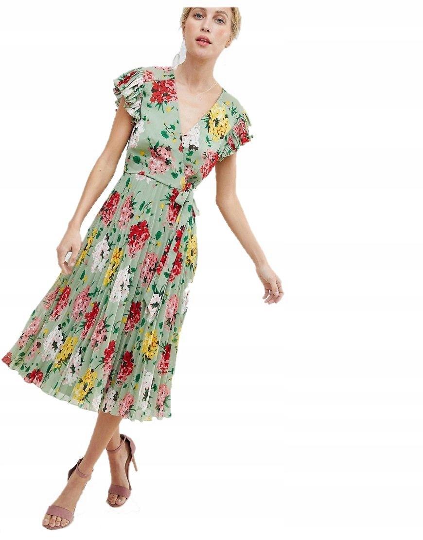 17af01a6c0 sukienka MIDI plisowana VINTAGE kwiaty XS 34 - 7524522554 ...