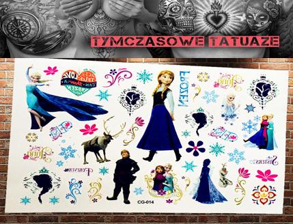 Tatuaż Zmywalny Naklejka Kraina Lodu Frozen Anna