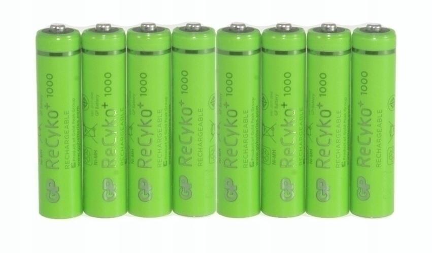 8 sztuk akumulatorków AAA R3 GP 1000mAh RecykoPro+