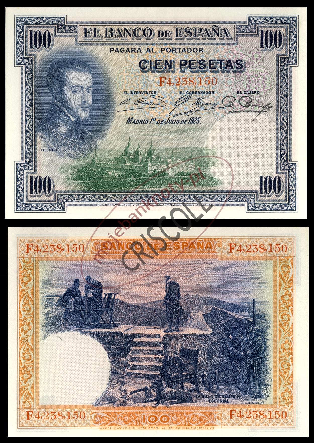 Hiszpania 100 pesetas 1925r. P-69 UNC-