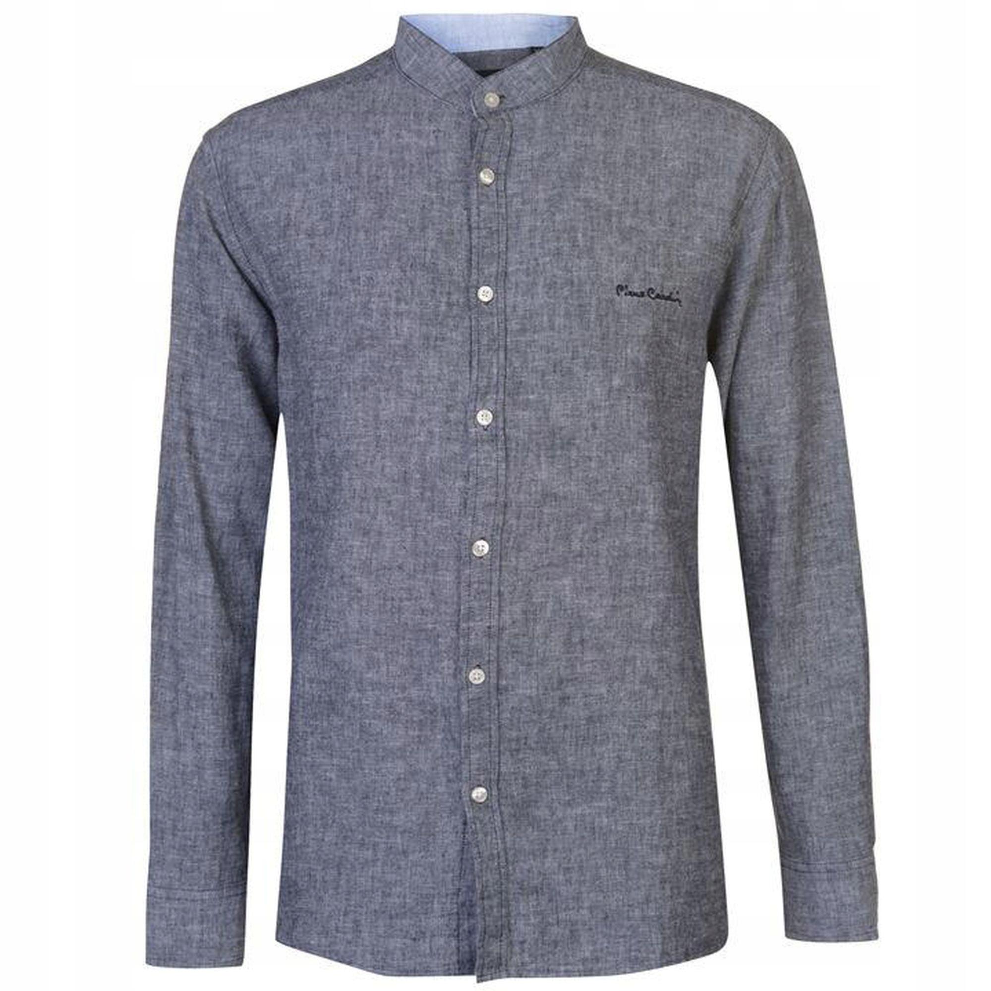 Koszula lniana PIERRE CARDIN stójka len bawełn XL
