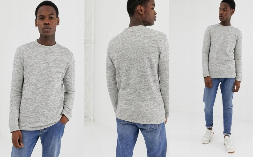 12O035 SELECTED HOMME__XCN SZARY SWETER__S