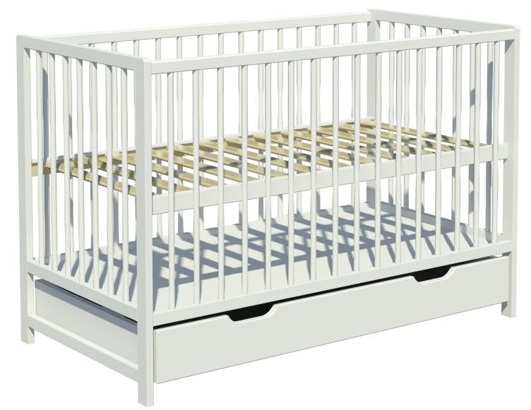 Łóżeczko dziecięce DOMINIK szuflada 120x60cm białe