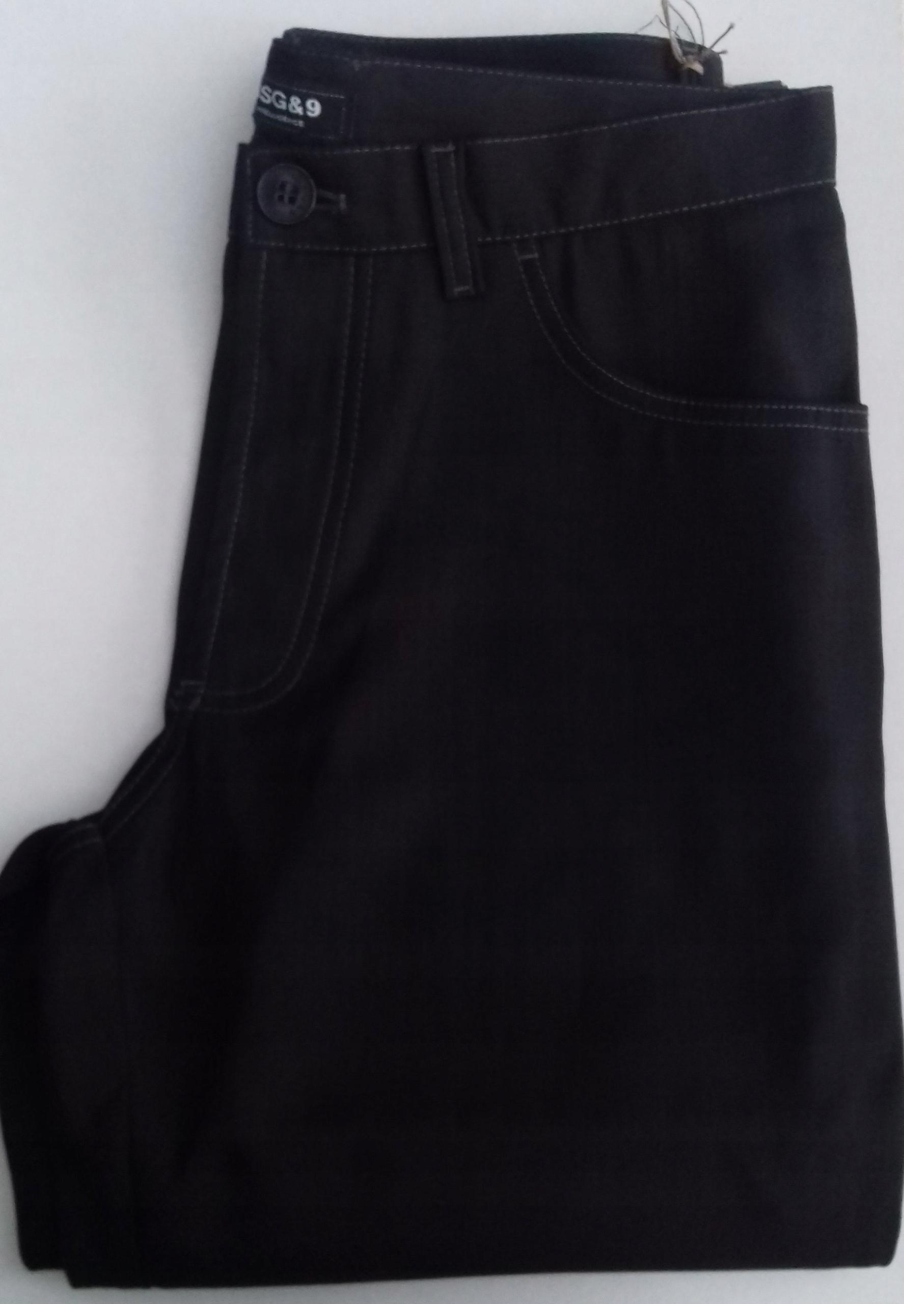 SPODNIE czarne BEZKANTOWE obw.82 cm proste nogawki