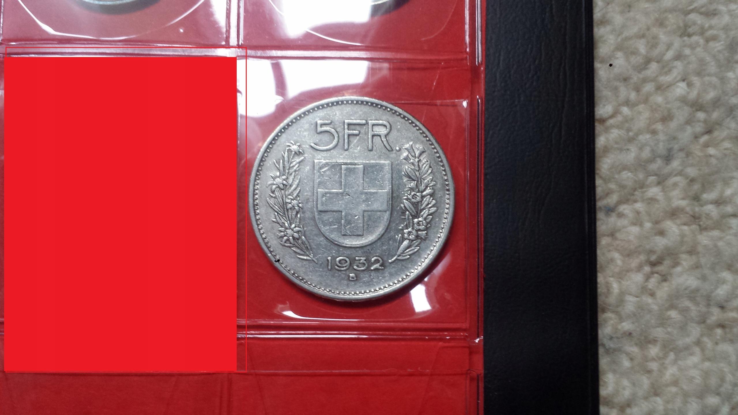 5 Franków 1932 B - Szwajcaria + pozostałe 8 monet