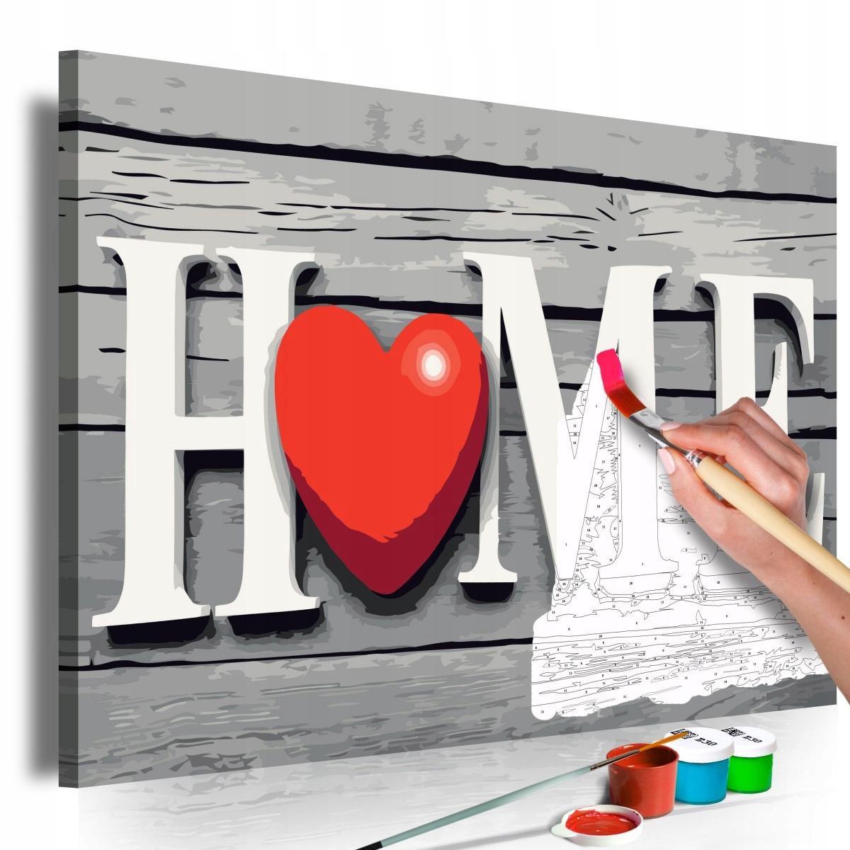 Obraz do samodzielnego malowania - Home z czerwony