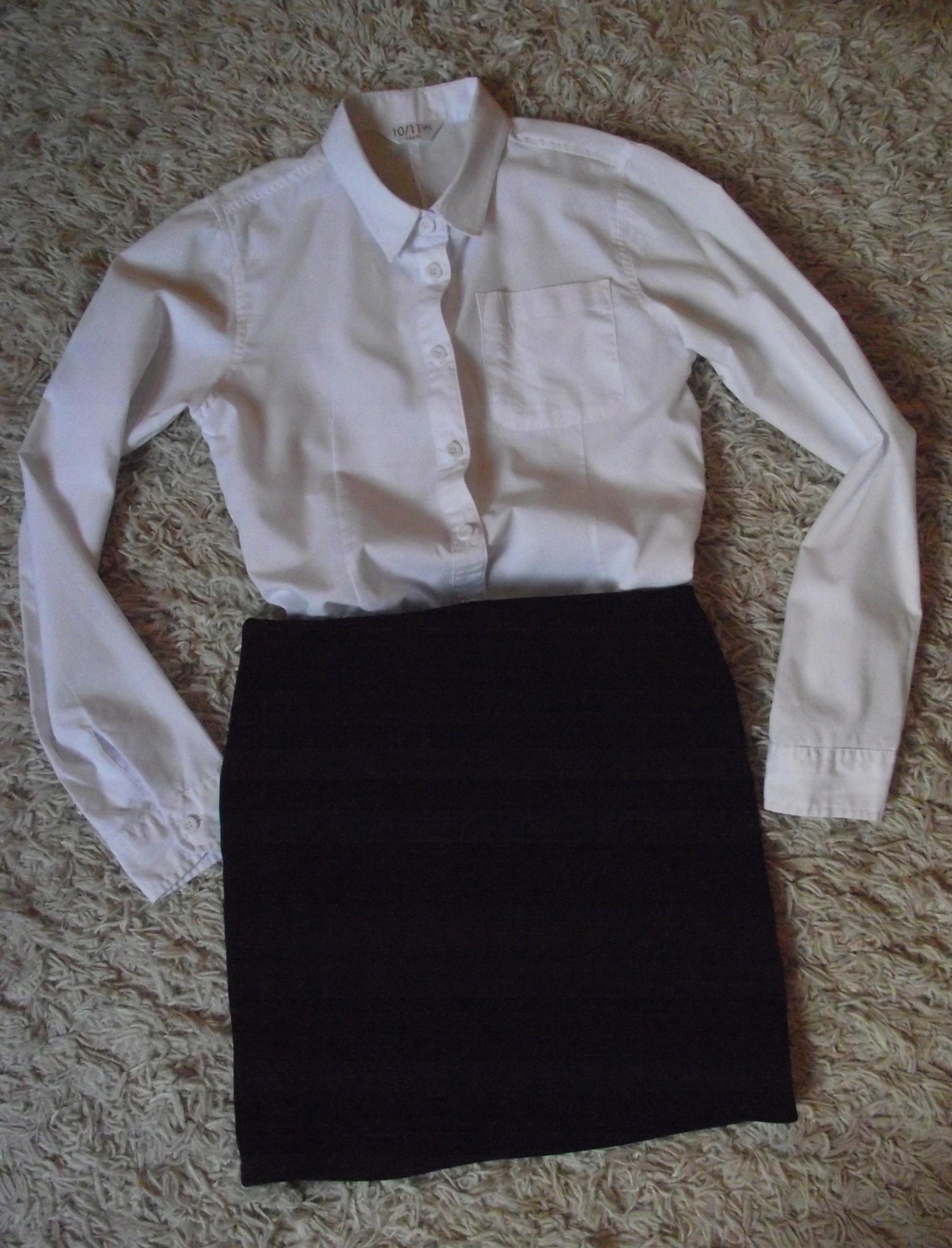 56021765 Strój galowy biała koszula spódnica r. 140 bdb!! - 7578670628 ...