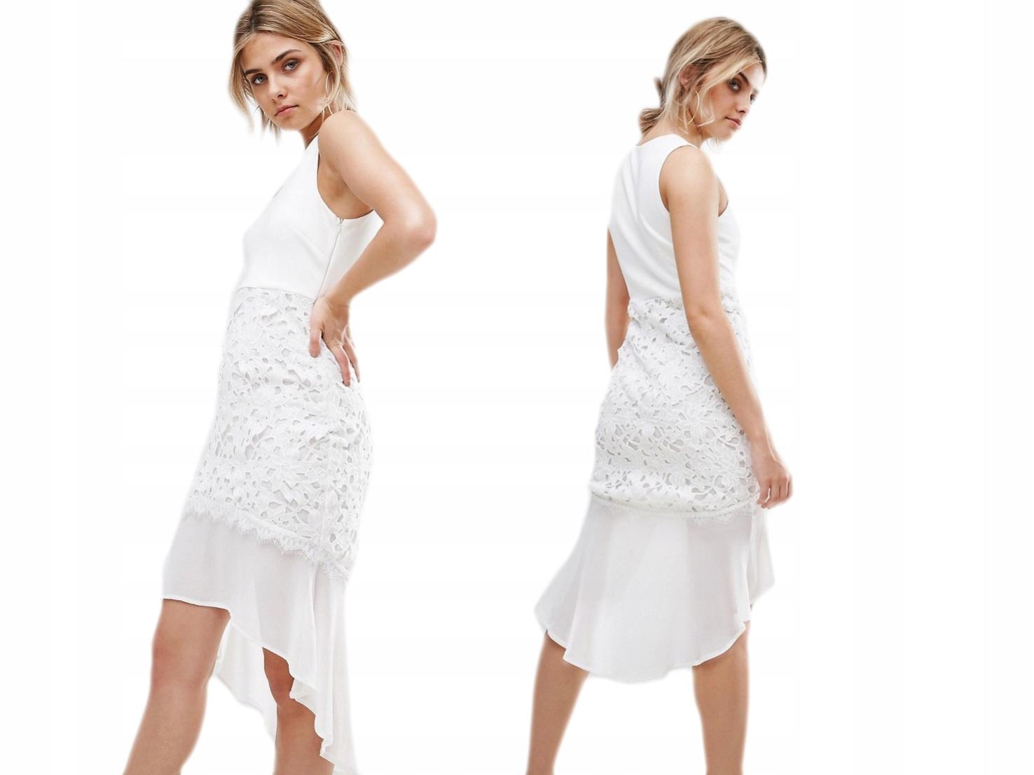 Boohoo kremowa sukienka z falbanka boho 44