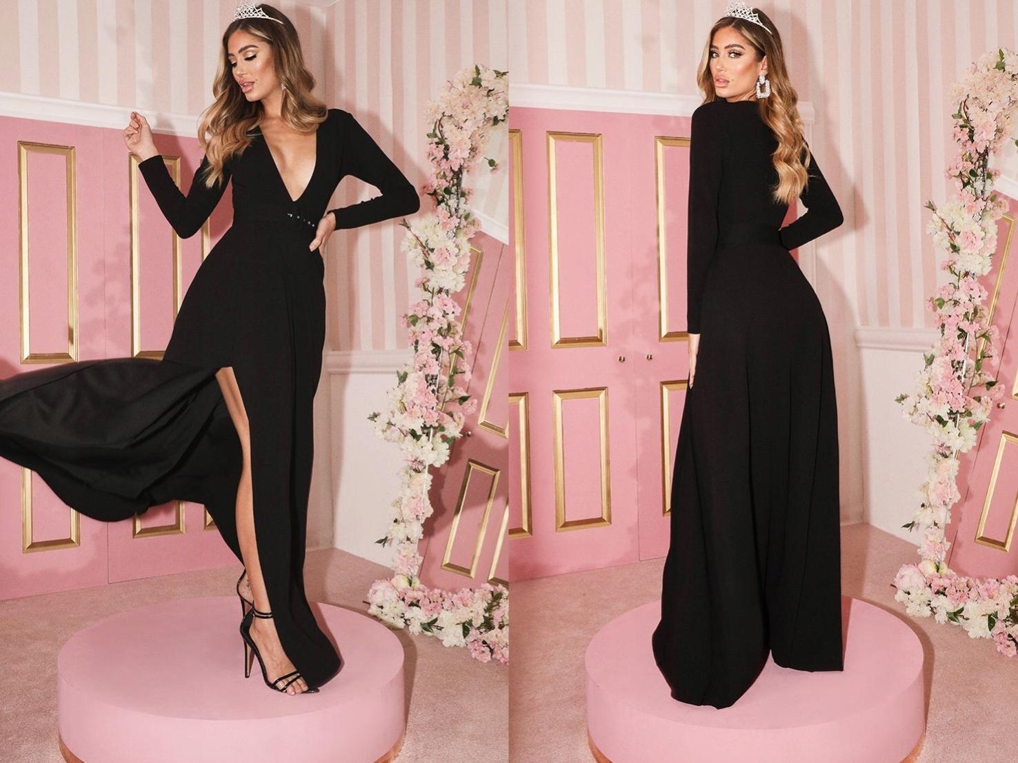PrettyLittleThing czarna maxi sukienka v neck L/40