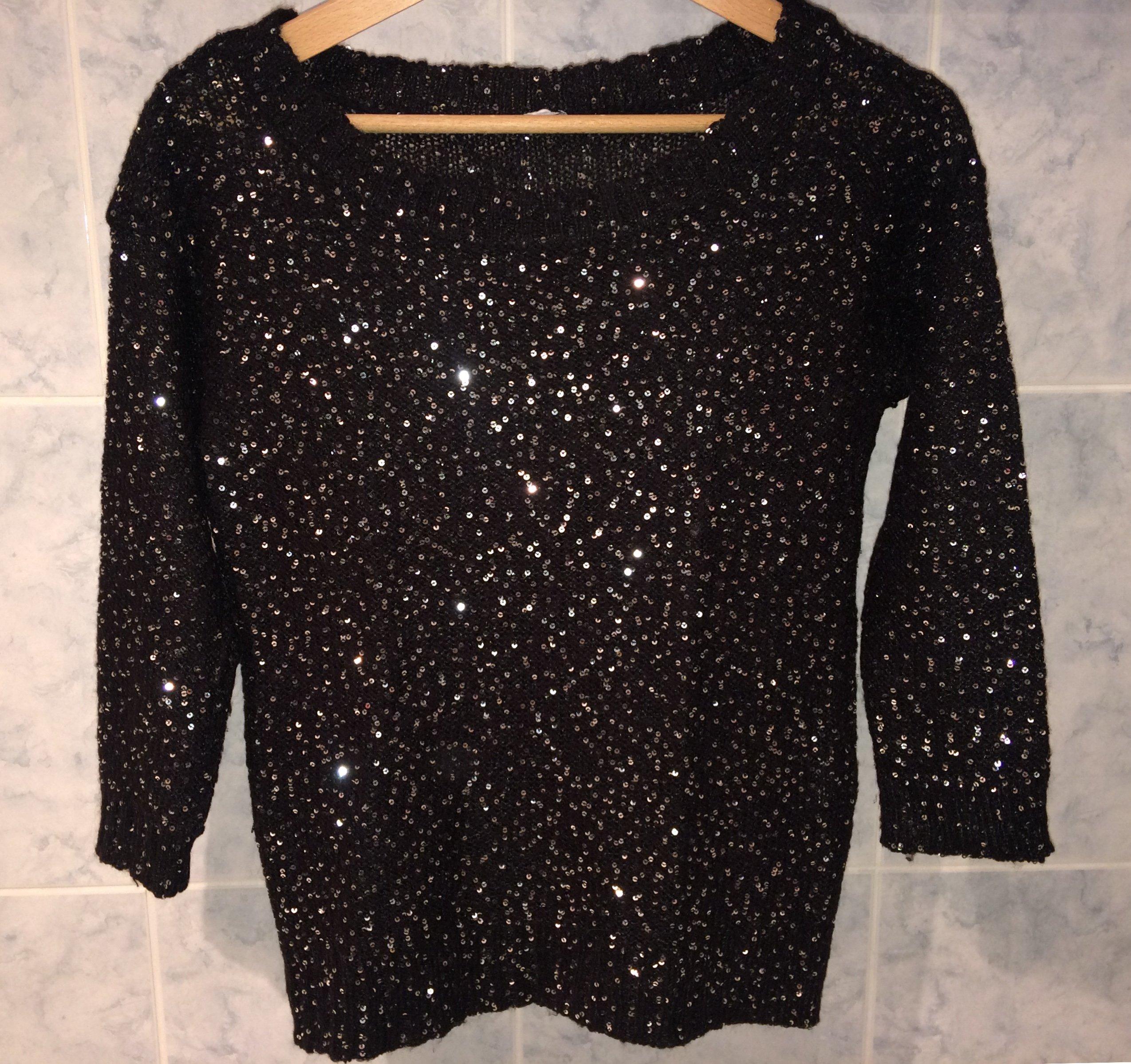 Inteligentny Czarny sweter sweterek z cekinami świecący - 7440258645 CG65