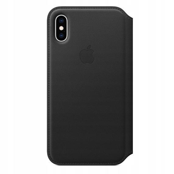 Apple Etui skórzane folio iPhone XS - czarne