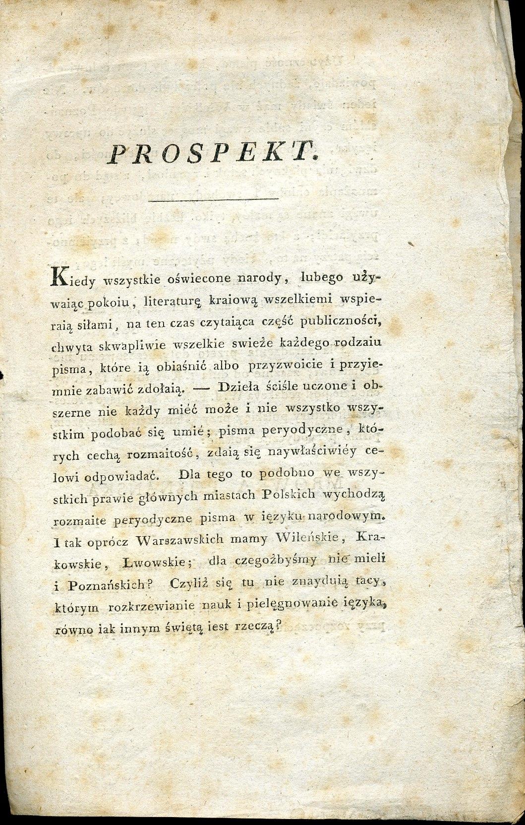 PROSPEKT 'MRÓWKI POZNAŃSKIEJ' red. J. A.MUNK, 1820