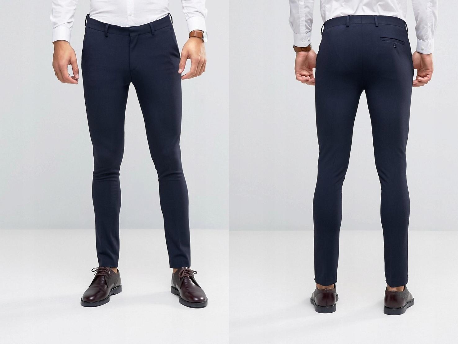 Eleganckie Spodnie Granatowe Proste W32 L34