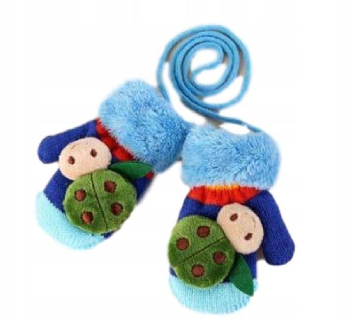 Dziecięce rękawiczki na sznurku biedronki 1-3 lata