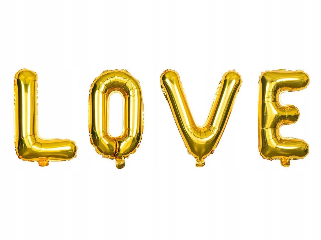DUŻE BALONY ZŁOTE NAPIS LOVE WESELE ŚLUB DEKORACJA