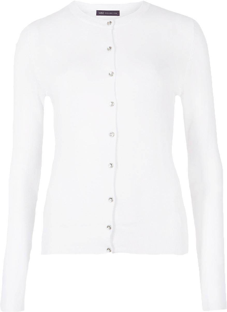 M&S Biały Damski Sweter Kardigan S 36