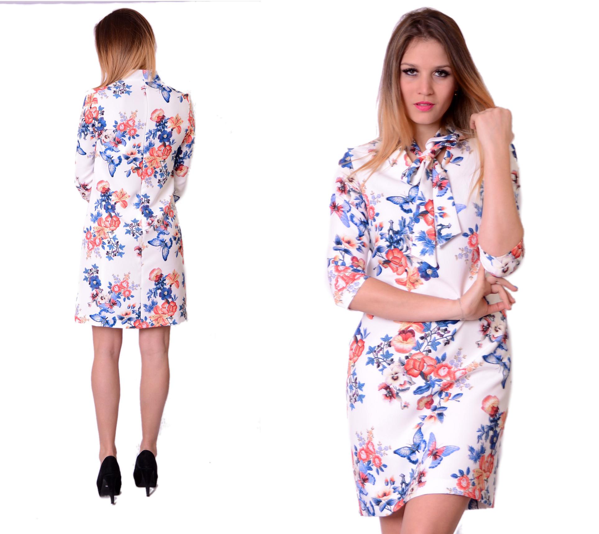e40e97a50a Sukienka Trapez Krawat Kwiaty Producent rozm. 44 - 7192148325 ...