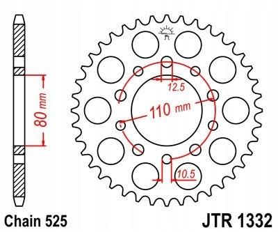 JT ZĘBATKA TYLNA 4350 44 HONDA VT 600C SHADOW 90 0