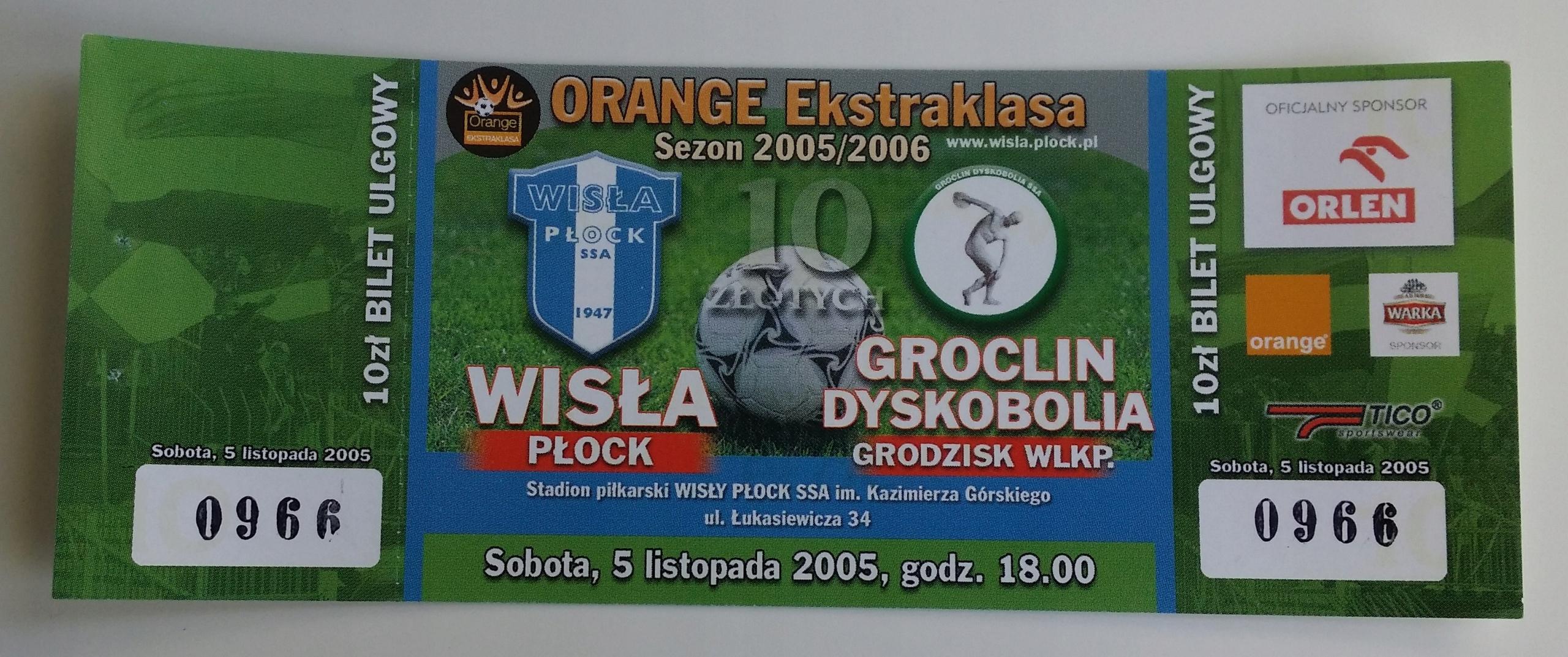 Bilet Wisła Płock - Groclin 05.11.2005