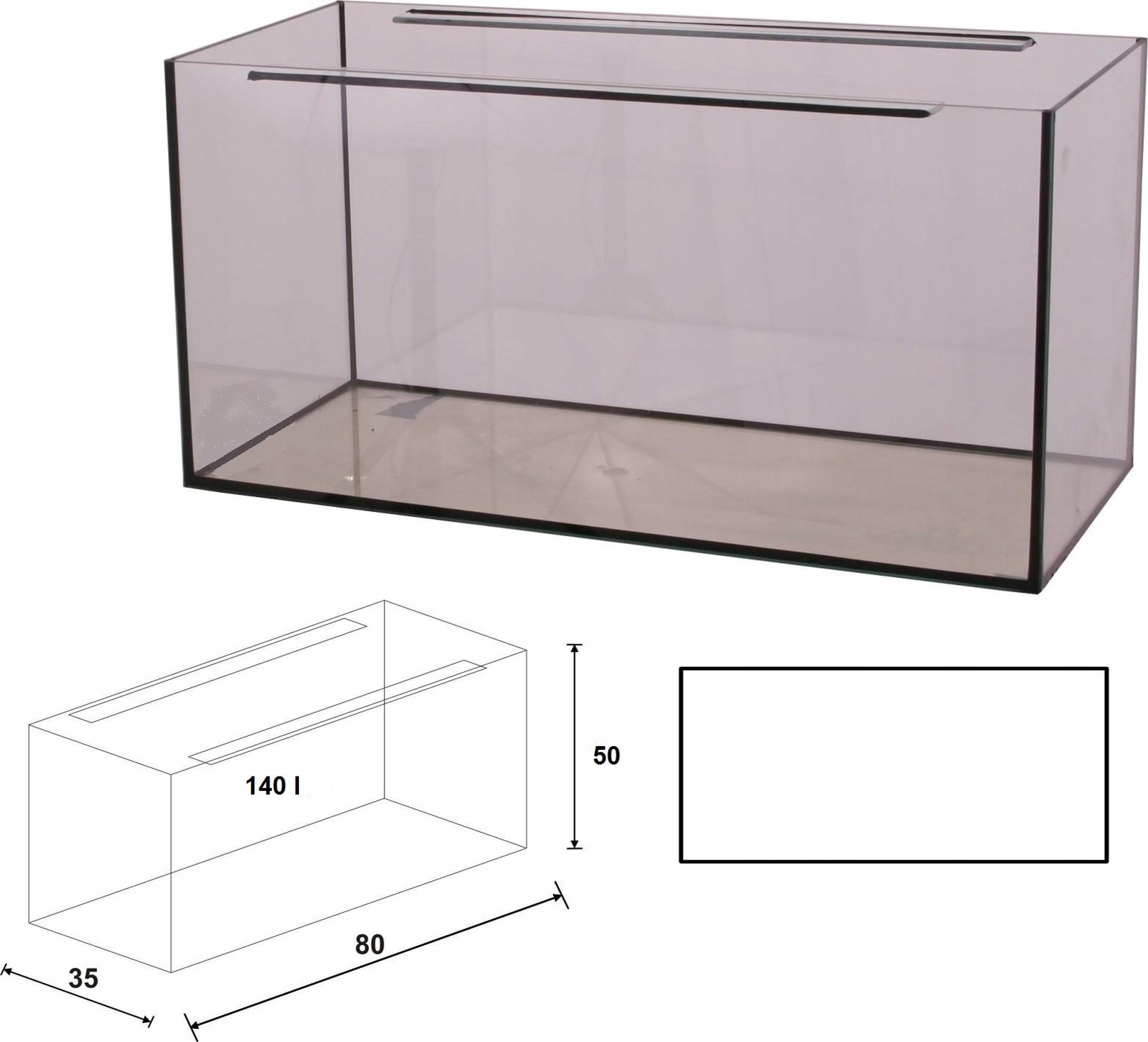 Akwarium 80x35x50 proste 140 litrów 8 mm