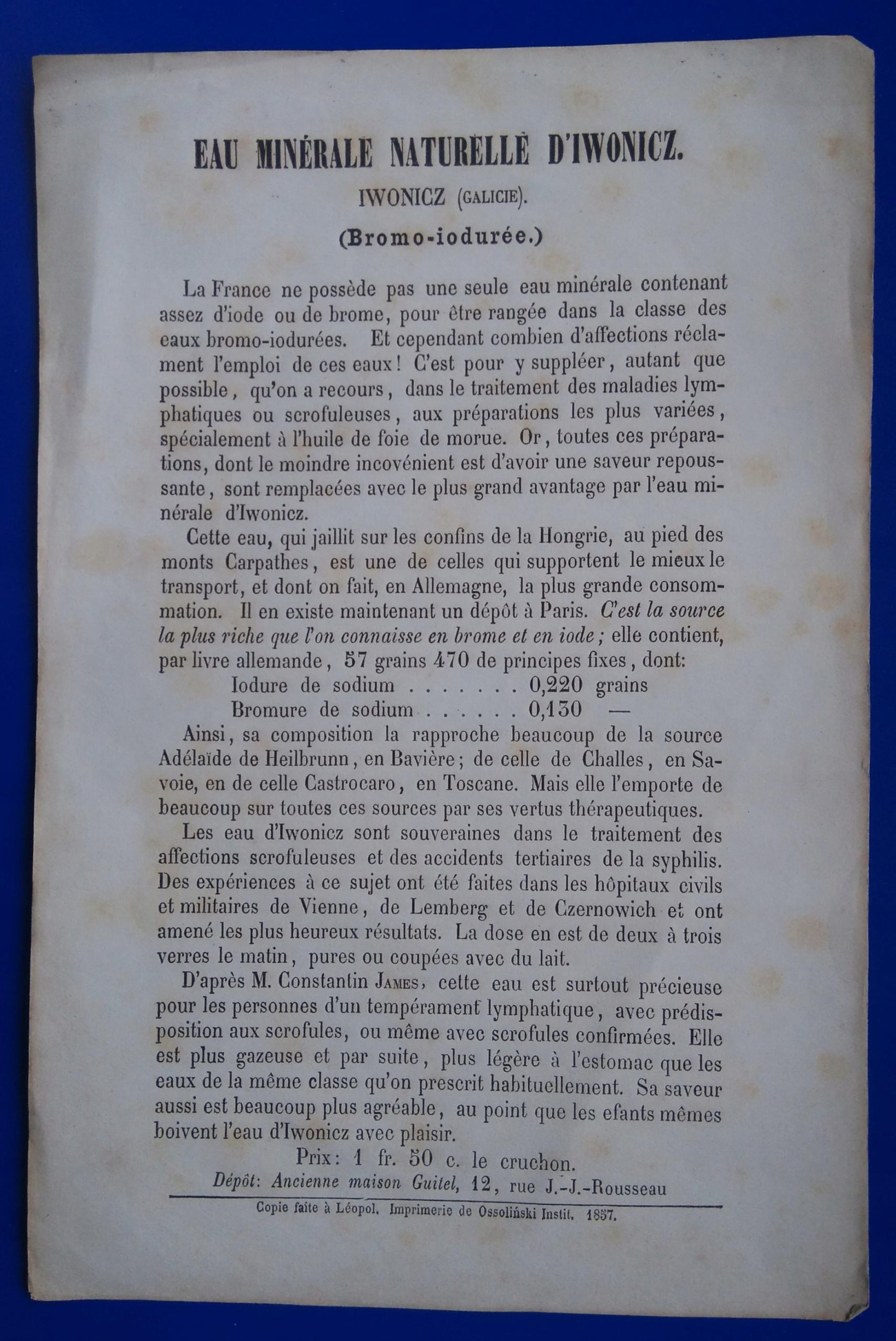 Ulotka,reklama, wody mineralne Iwonicz Zdrój,1857r