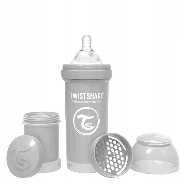 Twistshake Butelka antykolkowa 260 ml szara
