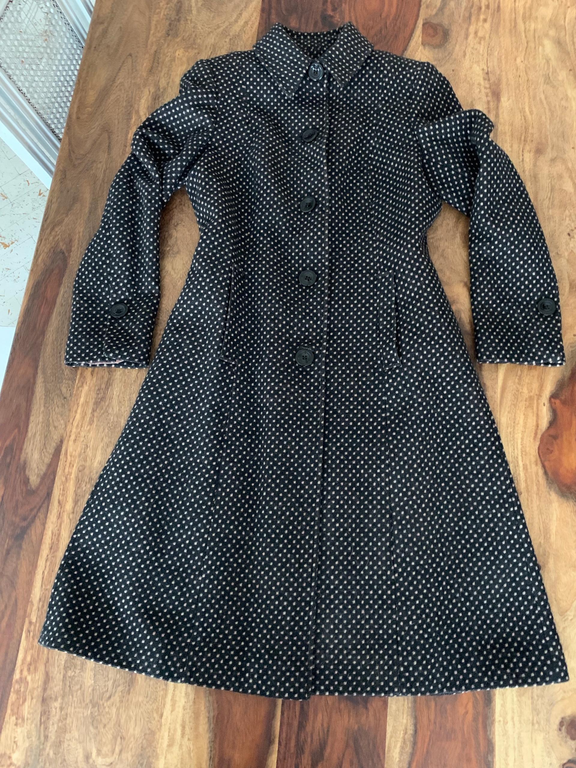 next Woolmark wełna płaszcz groszki retro wool cud