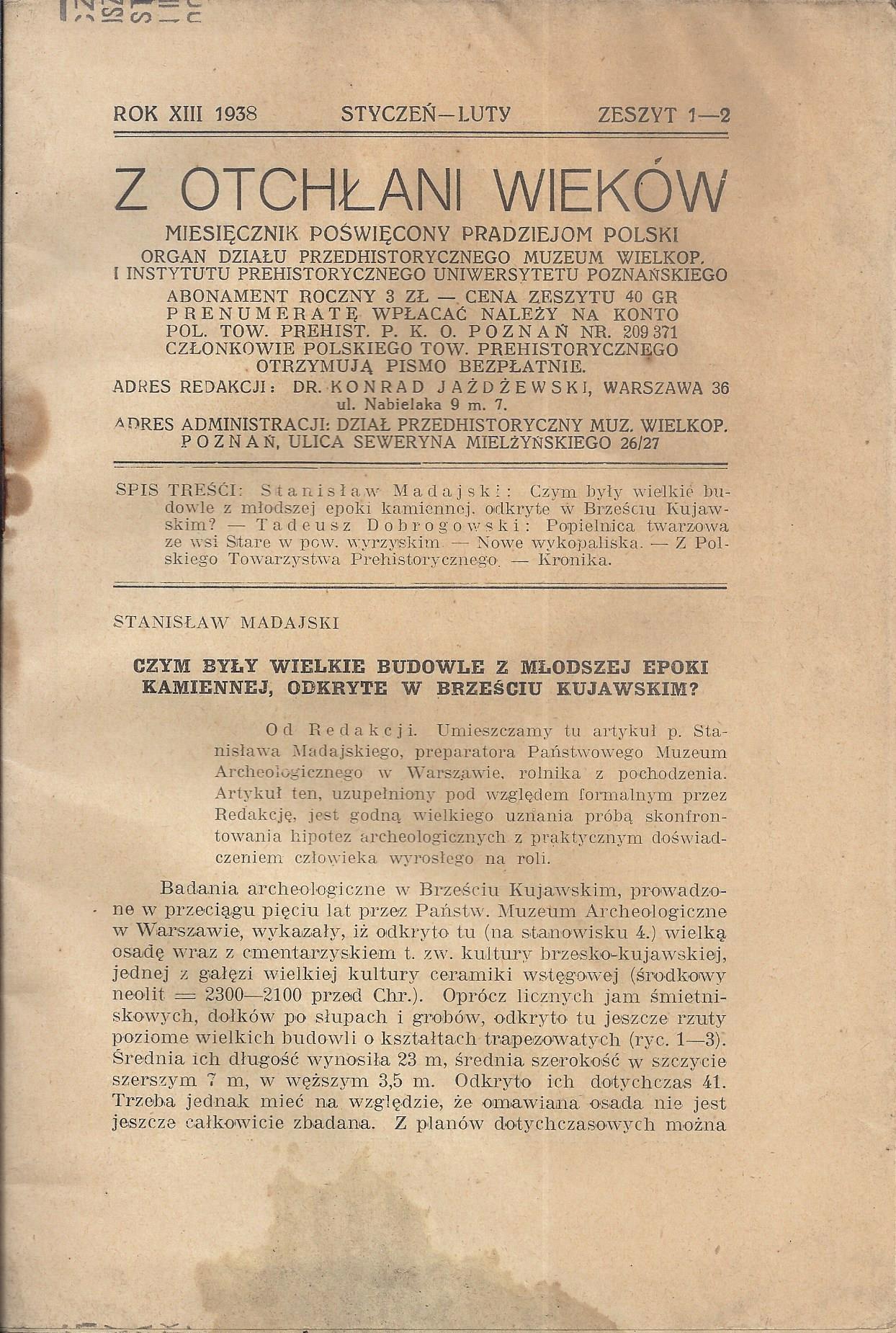 Z OTCHŁANI WIEKÓW ARCHEOLOGIA POZNAŃ 1938