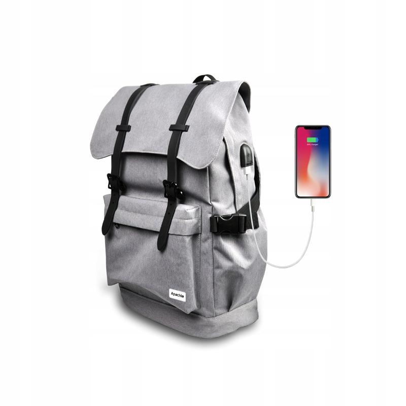 Plecak na Notebooka z Portem USB Szary