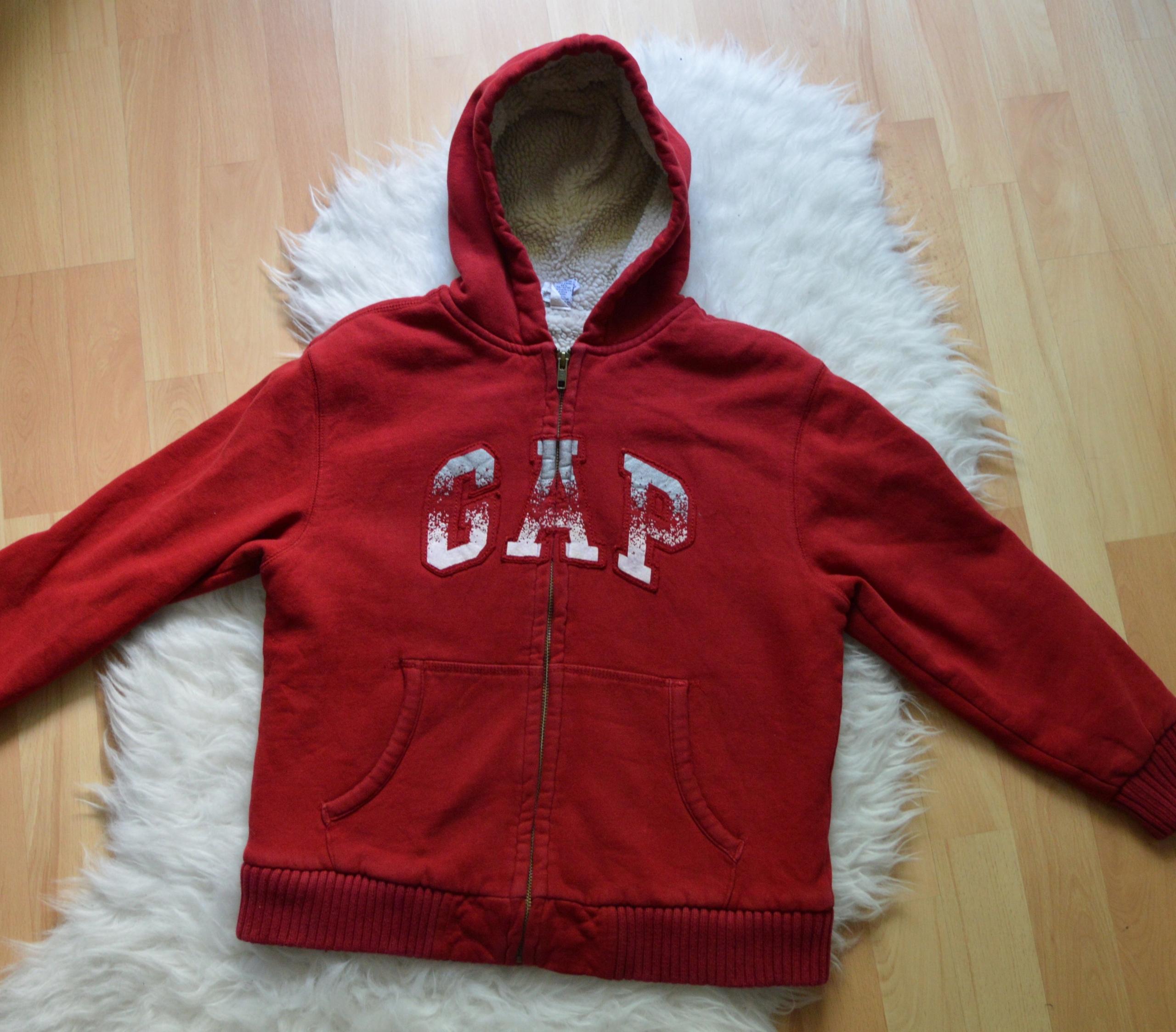 czerwona bluza GAP Kids futerko 8-9 lat 128-134cm