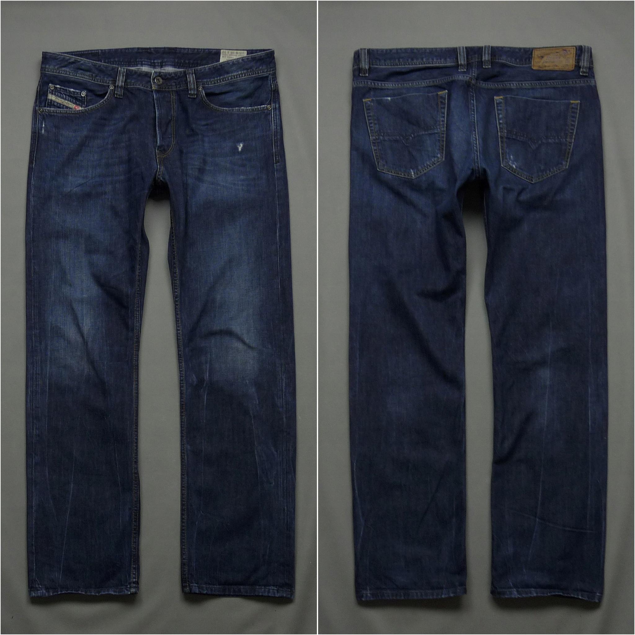 DIESEL VIKER granatowe spodnie jeansy logo W36 L32