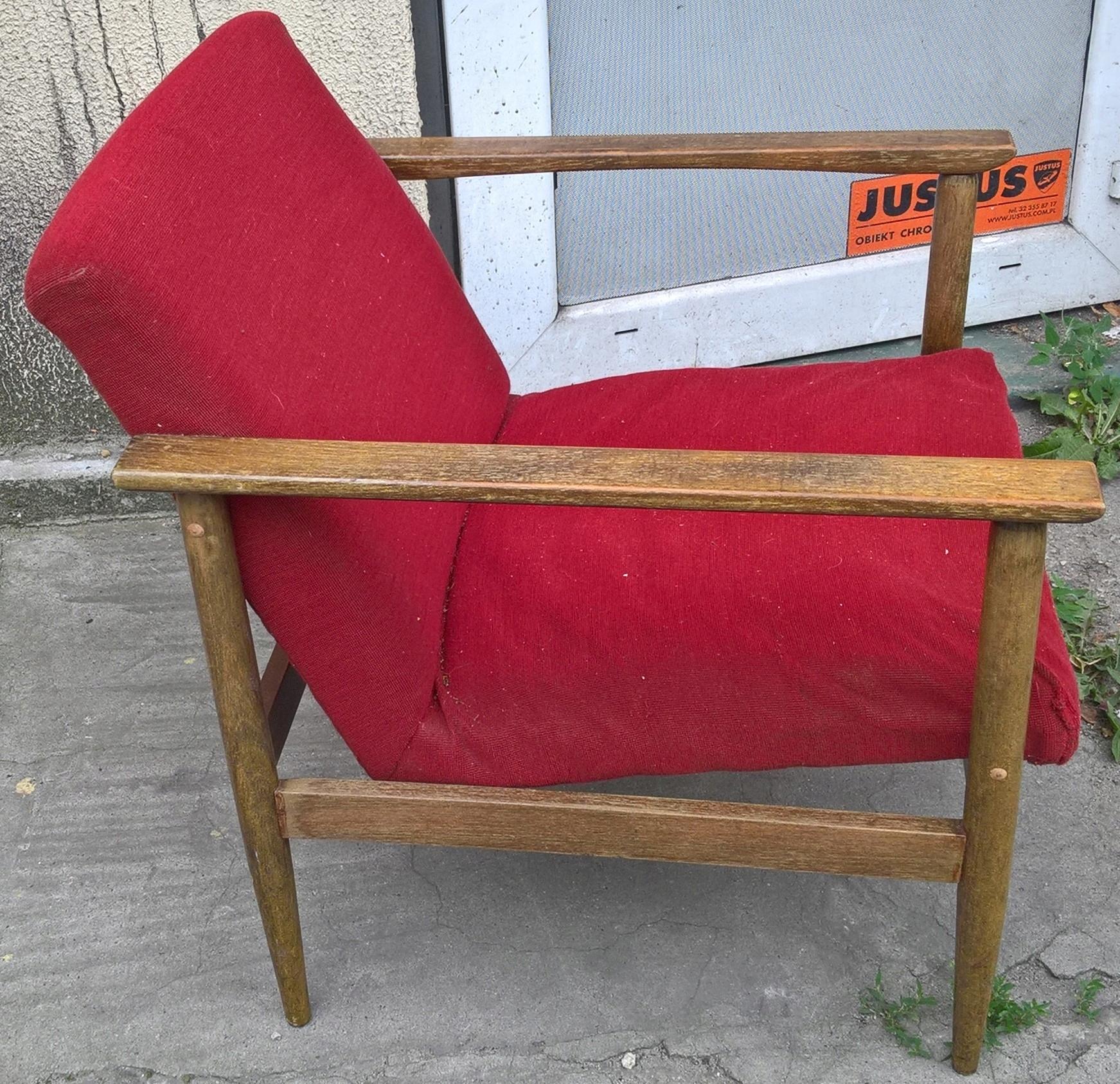 Fotel klubowy PRL E. Homa GFM-142 do remontu