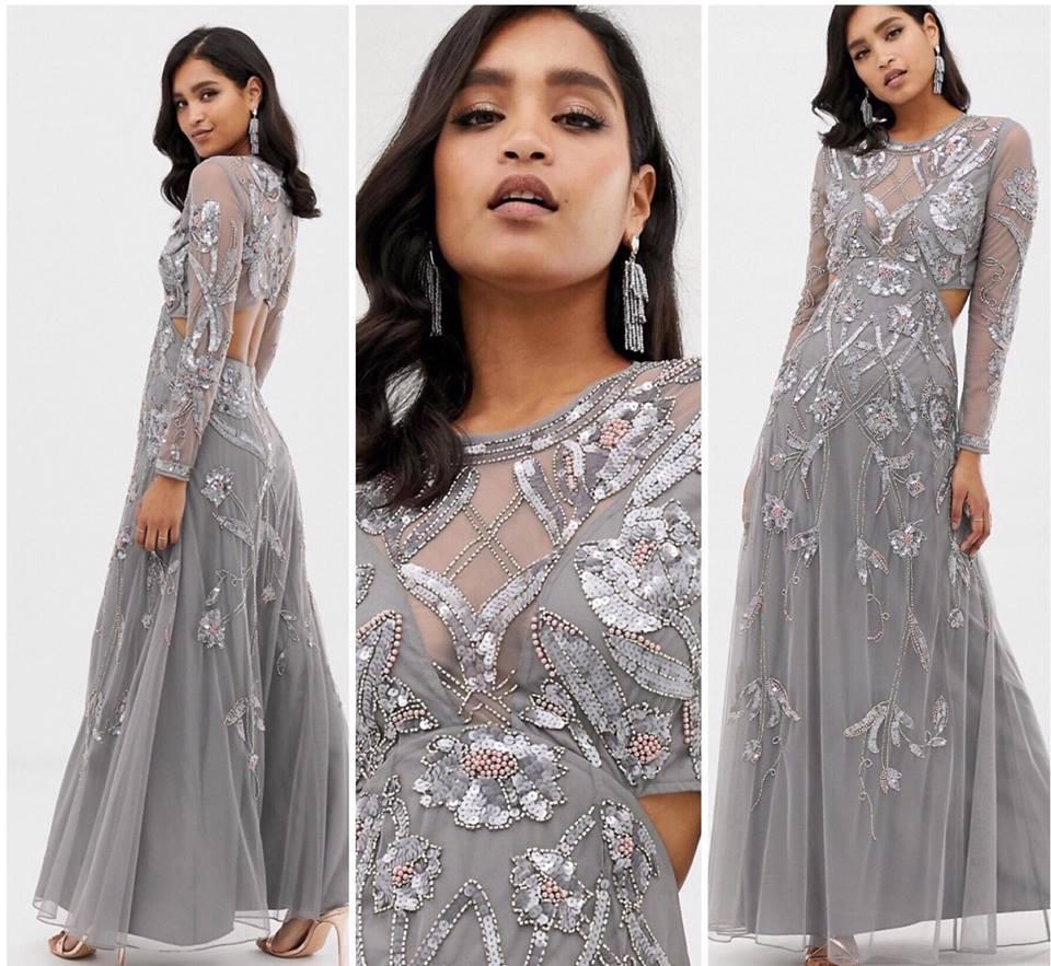 AS0S DESIGN szara maxi sukienka zdobiona 40 L