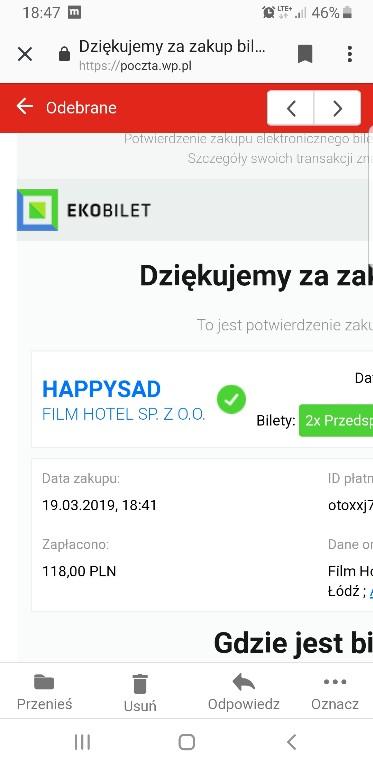 happysad 2bilety Łódź wytwórnia 5.04 g.19