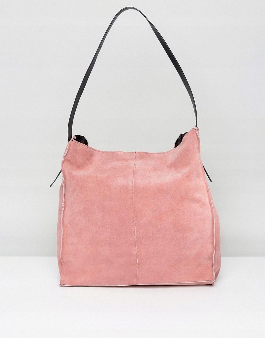 81632fbc71e0d różowa zamszowa torba worek ASOS shopper bag zara - 7589650875 ...