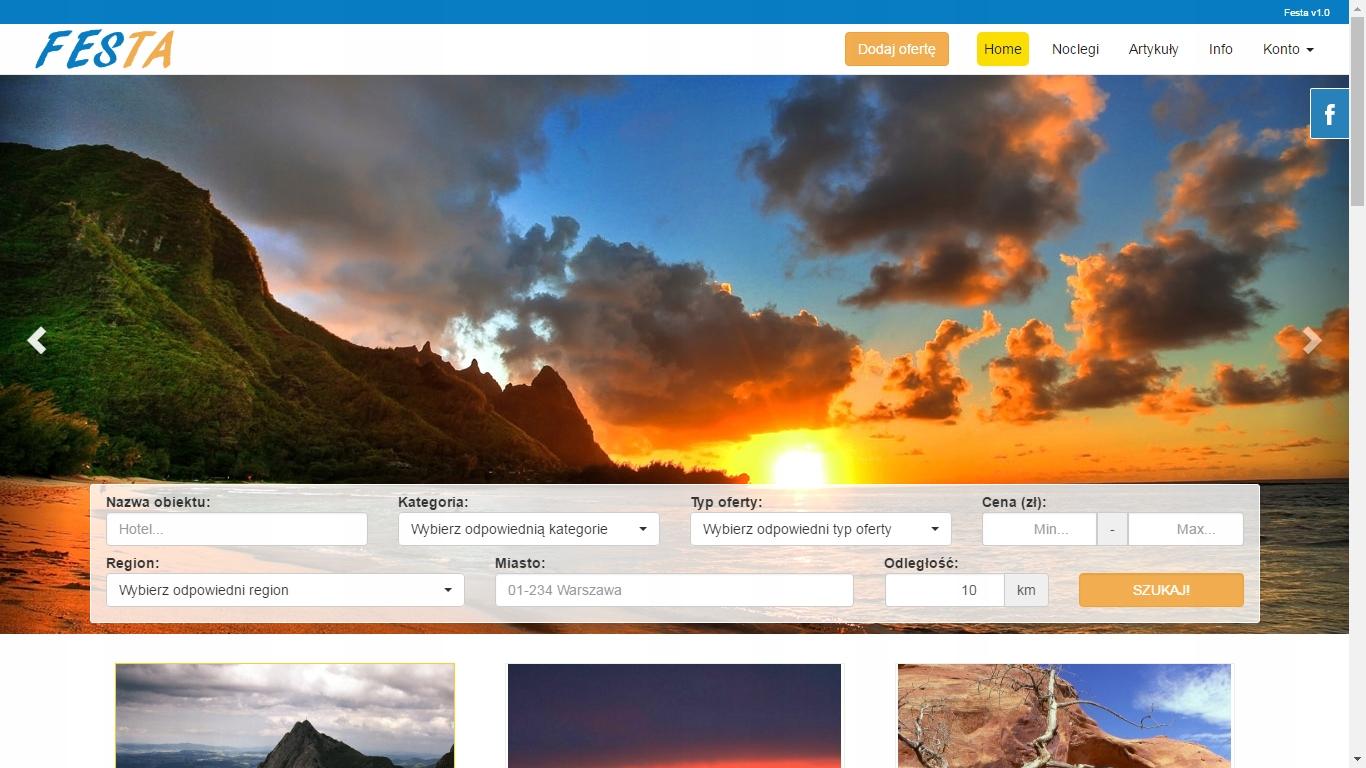 Skrypt strony www bazy noclegów, noclegowej Festa