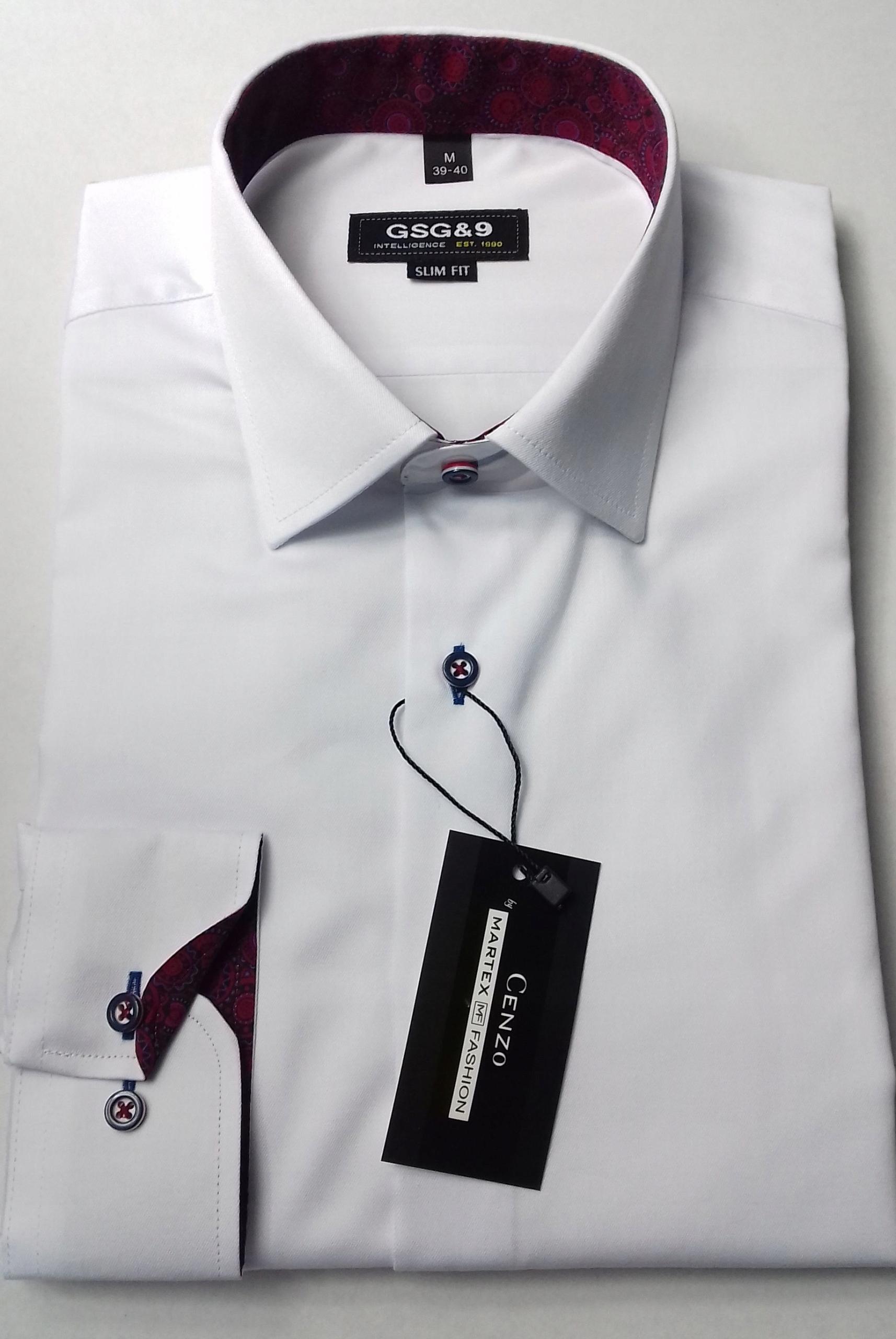 KOSZULA XL biała BORDO długi rękaw SLIM elegancka