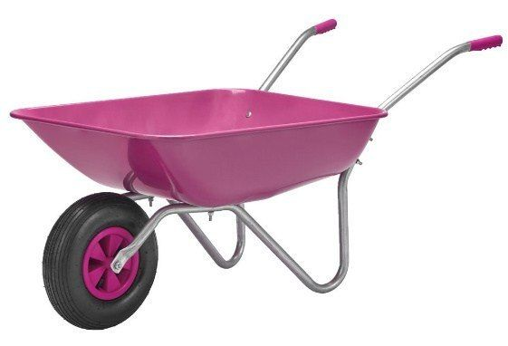Taczka ogrodowa Różowa max 100kg metalowa lekka