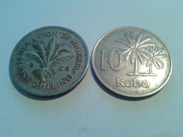 NIGERIA 1 SHILLING 1959 -10 KOBO 1973 R