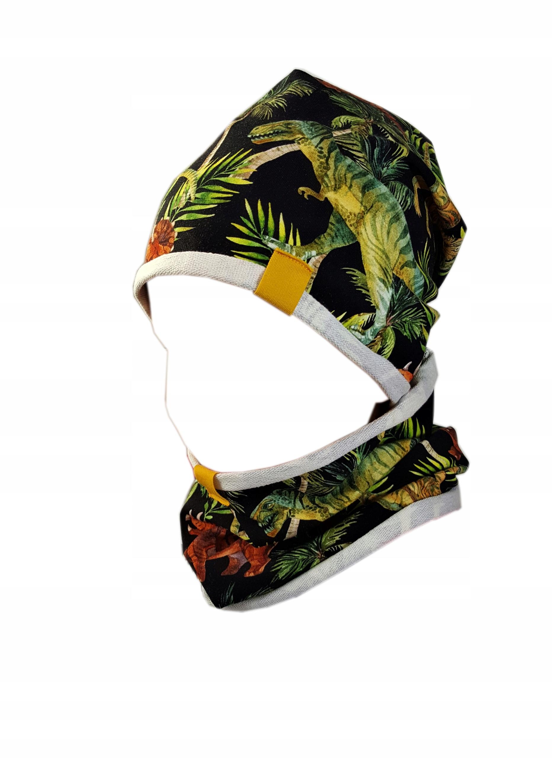 Komplet czapka i komin dinozaur jedna warstwa r.52
